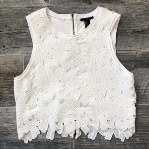 FOREVER 21 White Embroidered Lace Crop Top